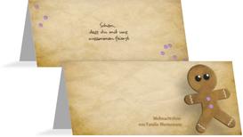 Weihnachtstischkarte Lebkuchenmännchen - Lila (K32)