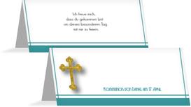 Tischkarte zur Kommunion Gebetbuch - Türkis (K32)
