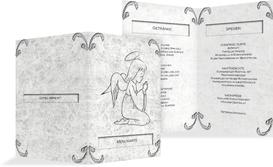 Menükarte zur Konfirmation Relief-Engelchen - Grau (K38)