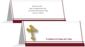 Tischkarte zur Kommunion Gebetbuch - Rot (K32)