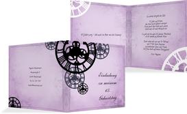 Einladung zum Geburtstag Schöne Zeit 65 - Lila (K24)