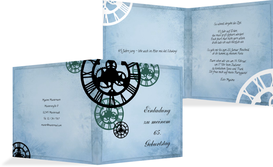 Einladung zum Geburtstag Schöne Zeit 65 - Blau (K24)