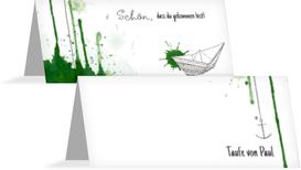 Taufe Tischkarte Origamischiff - Grün (K32)