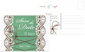 Save the Date Karte Vintage Schleife - Türkis (K25)