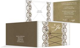 Einladung zur Hochzeit Vintage Schleife - Braun (K19)