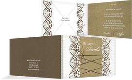 Dankeskarte zur Hochzeit Vintage Schleife - Braun (K19)