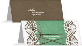 Hochzeitstischkarte Vintage Schleife - Türkis (K32)
