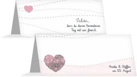 Tischkarte zur Hochzeit Sternenbild - Rot (K32)