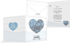 Dankeskarte zur Hochzeit Sternenbild - Blau (K24)