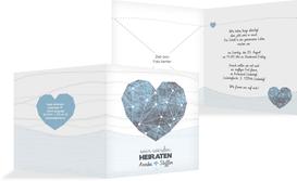 Einladung zur Hochzeit Sternenbild - Blau (K24)