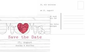 Save the Date Karte zur Hochzeit Mr&Mrs - Rot (K25)