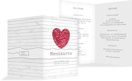 Menükarte zur Hochzeit Mr&Mrs - Rot (K38)