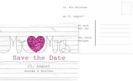 Save the Date Karte zur Hochzeit Mr&Mrs - Lila (K25)