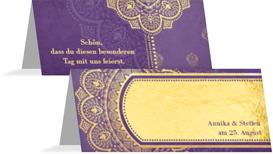 Tischkarte zur Hochzeit Mumbai - Lila (K32)
