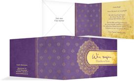 Danksagungskarte zur Hochzeit Mumbai - Lila (K19)