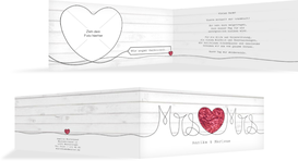 Hochzeit Dankeskarte Mrs&Mrs - Rot (K33)