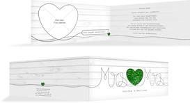 Hochzeit Dankeskarte Mrs&Mrs - Grün (K33)