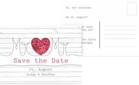 Save the Date Karte zur Hochzeit Mr+Mr - Rot (K25)