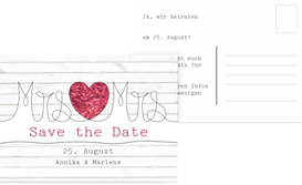 Save the Date Karte zur Hochzeit Mrs&Mrs - Rot (K25)