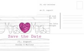 Save the Date Karte zur Hochzeit Mrs&Mrs - Lila (K25)
