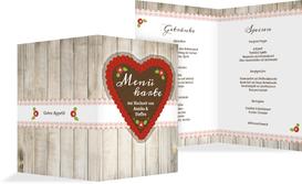 Menükarte zur Hochzeit München - Rot (K38)
