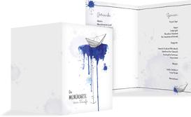 Menükarte Origamischiff - Blau (K38)