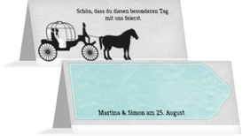 Hochzeitstischkarte Kutsche - Türkis (K32)