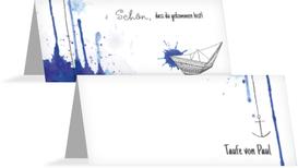 Taufe Tischkarte Origamischiff - Blau (K32)