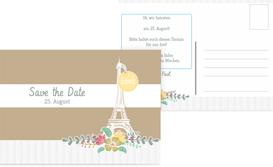 Save the Date Karte zur Hochzeit Paris - Braun (K25)