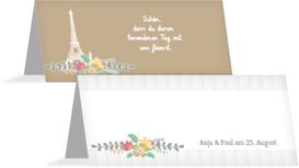 Hochzeitstischkarte Paris - Braun (K32)