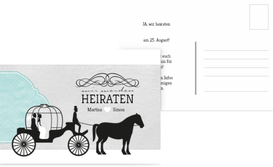 Save the Date Karte Kutsche - Türkis (K25)