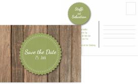 Save the Date Karte Vintage Holz - Grün (K25)