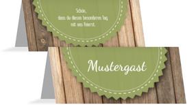 Hochzeitstischkarte Vintage Holz - Grün (K32)
