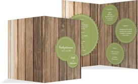 Menükarte zur Hochzeit Vintage Holz - Grün (K38)