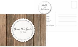 Save the Date Karte Vintage Holz - Weiß (K25)