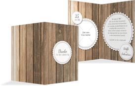 Hochzeit Dankeskarte Vintage Holz - Weiß (K20)