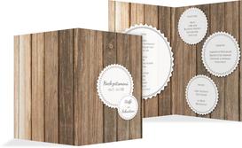 Menükarte zur Hochzeit Vintage Holz - Weiß (K38)