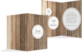 Hochzeit Dankeskarte Vintage Holz 2 - Weiß (K20)
