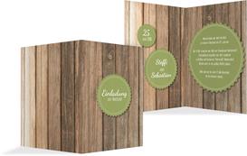 Hochzeitseinladung Vintage Holz 2 - Grün (K20)