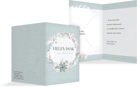 Geburt Dankeskarte Vintage Blumenranke - Hellblau (K20)