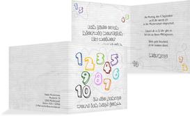 Einschulungskarte eins bis zehn - Weiß (K24)