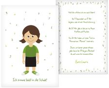 Karte zur Einschulung Mädchen grün - Braun (K31)
