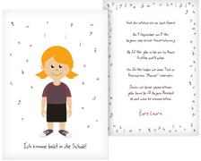 Karte zur Einschulung Mädchen lila - Orange (K31)