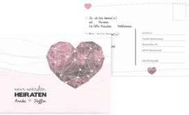 Antwortkarte Hochzeit Sternenbild - Rot (K25)