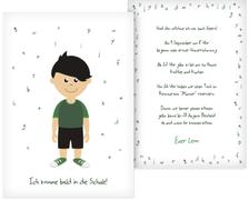 Karte zur Einschulung Junge grün - Schwarz (K31)