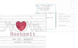 Antwortkarte zur Hochzeit Mr&Mrs - Rot (K25)