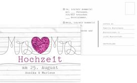 Antwortkarte zur Hochzeit Mrs&Mrs - Lila (K25)