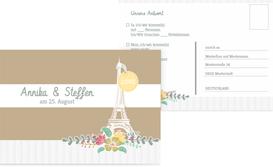 Antwortkarte zur Hochzeit Paris - Braun (K25)