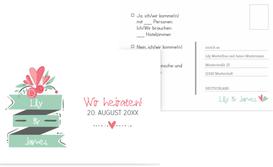 Hochzeit Antwortkarte Du & Ich - Weiß (K25)