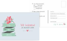 Hochzeit Antwortkarte Du & Ich - Hellblau (K25)